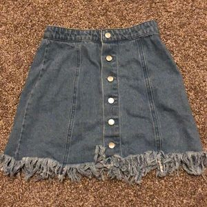 Frayed Edge Denim Button-Down Skirt